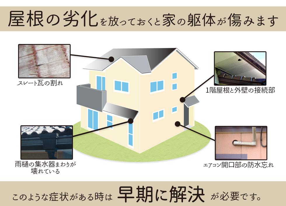 屋根の劣化を放って置くと家の躯体が傷みます。早期に解決が必要です。